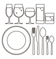 Plate knife fork spoon and drinking glasses vector image vector image