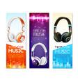 realistic earphones vertical banners vector image vector image