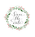 save date card with watercolor floral wreath vector image