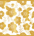seamless golden pattern with flowers on white vector image vector image
