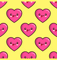 seamless pattern of smiling hearts on yellow vector image vector image