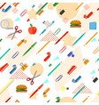 seamless school office supplies pattern vector image vector image
