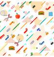 seamless school office supplies pattern vector image