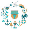 set nautical design elements in flat style vector image vector image