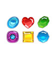set of 6 glossy gemstones of different vector image vector image
