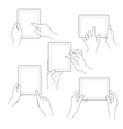 Set of tablet screen with hands vector image vector image
