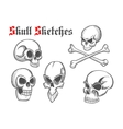 Skull artistic pencil sketch icons vector image