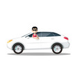 smiling man in sunglasses driving car isolated on vector image vector image