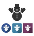 snowman icon in different variants vector image vector image