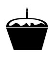sweet and delicious cupcake with candle vector image vector image