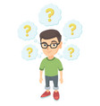 thinking caucasian boy with question marks vector image
