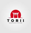 torii gate logo design japanese religion symbol vector image vector image