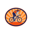 Triathlon athlete riding cycling bike vector image vector image