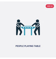 two color people playing table football icon from vector image vector image
