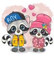 two cute cartoon raccoons boy and girl vector image vector image