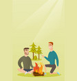 two friends sitting around bonfire in the camping vector image vector image