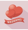 two heart wedding sign with shadow design graphic vector image