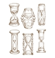 Vintage and modern hourglasses sketch icons vector image