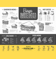 vintage burger menu design fast food menu vector image vector image