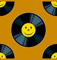 vinyl record with yellow smile seamless vector image vector image