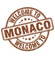 welcome to monaco brown round vintage stamp vector image vector image