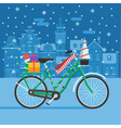 Winter Bike With Christmas Gifts vector image vector image