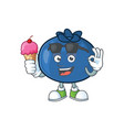 with ice cream cartoon funny blueberry fruit with vector image vector image