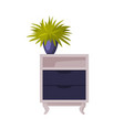 wooden nightstand with potted houseplant home vector image vector image