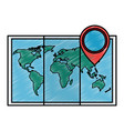 world map paper icon vector image vector image