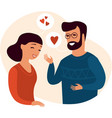 young couple talking about love vector image