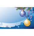 Christmas card with two Christmas balls and fir vector image
