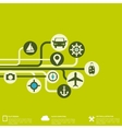 Abstract travel background with flat web icons vector image