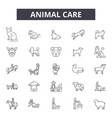 Animal care line icons signs set outline
