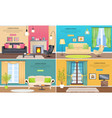 apartment interiors web banners set vector image vector image
