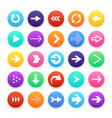 arrow color web button icons arrowhead and repeat vector image vector image