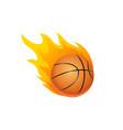 basketball ball in fire flame fireball vector image vector image