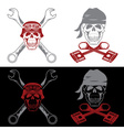 biker theme labels with skull wrenches and pistons vector image vector image