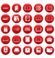 book icons set vetor red vector image