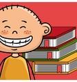 boy cartoon laptop books vector image