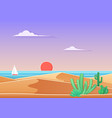 cactus in the desert landscape with sea and ship vector image
