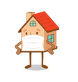 cartoon character house in medical mask vector image vector image