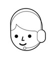cartoon operator call center using headphones vector image vector image