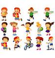 children doing different activities cartoon vector image vector image