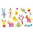 children toys collection cute funny toys for vector image