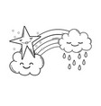 clouds and rainbow cartoon in black and white vector image vector image