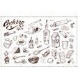 cooking food set hand drawn sketche vector image