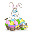 cute easter bunny with a basket of colorful eggs vector image vector image