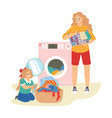 cute girl helping her mother with laundry vector image
