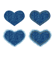 Denim heart patch vector image vector image
