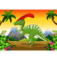 Dinosaur Parasaurolophus cartoon in the jungle vector image vector image